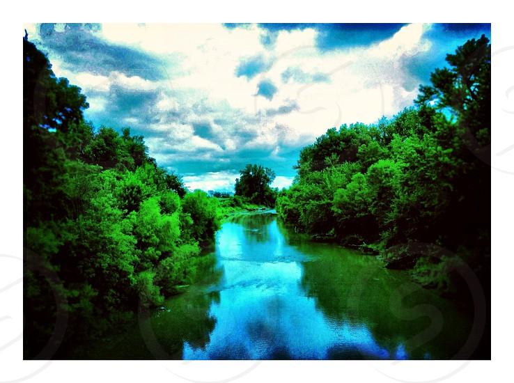 River sky trees outdoors Bridge green water Lake photo