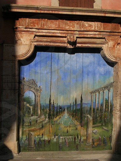 Painted door in Roussillon - Provence photo