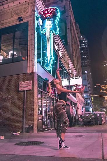Dance night alley Seattle dancer lights photo