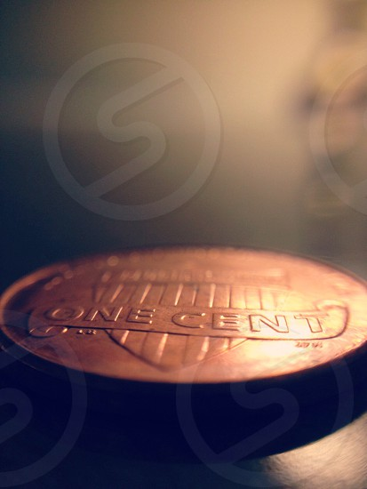 macro copper one cent round coin photograph photo