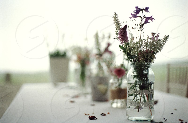 wedding flowers jars photo