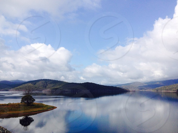 hills lake view photo
