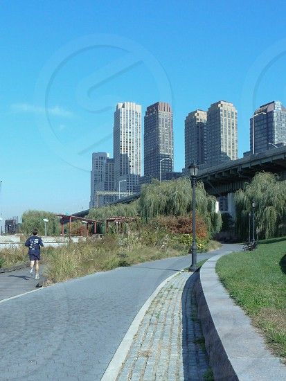 New York City the USA park jogging sport buildings road summer sunny  photo