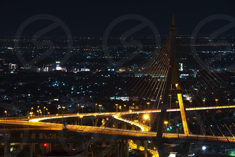 Bhumibol bridge at night photo