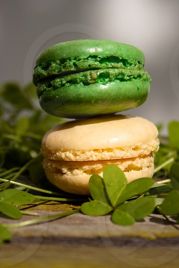 Closeup of green and white macaroons on clover on old wood table photo