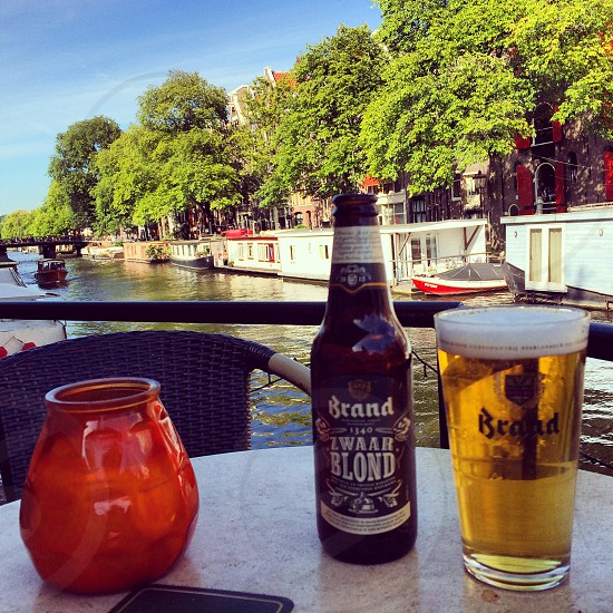 Chilling on the Amsterdam canals. Just a perfect moment. photo