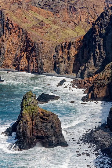 Cliffs and Rocks at St Lawrence in Madeira showing unusual vertical rock formations photo