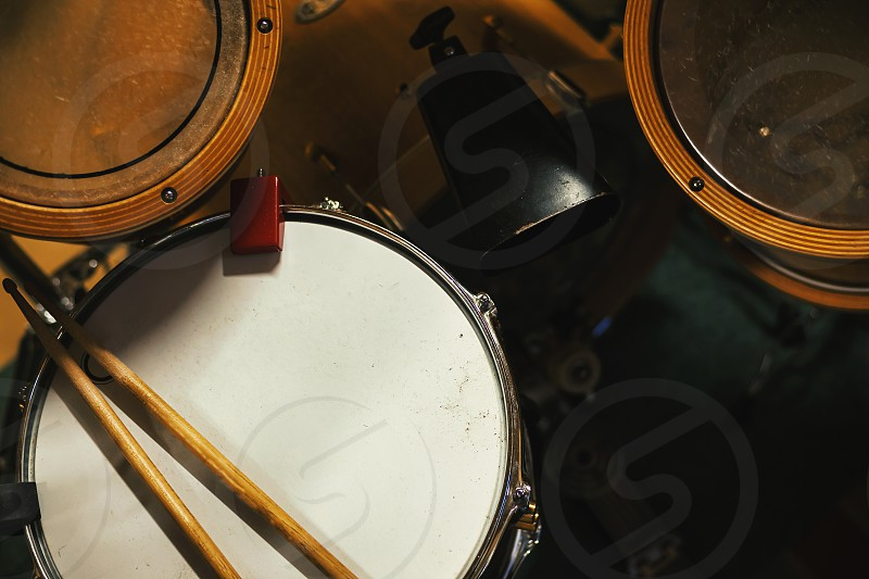 Part of a drum kit details of toms and snare. photo