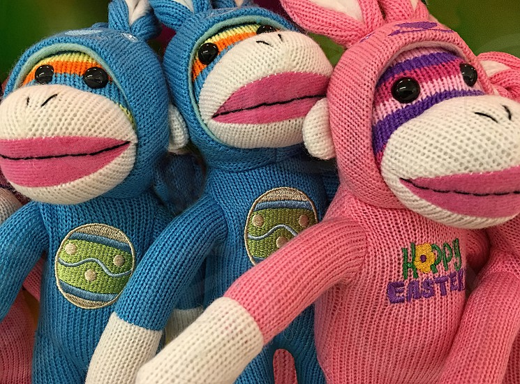Pink and blue sock monkeys dressed for Easter. photo