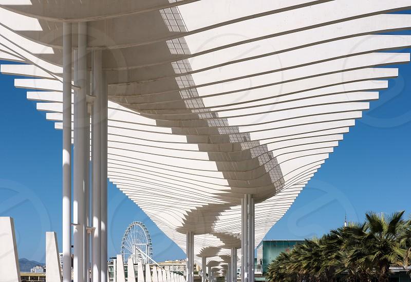 Modern Pergola in the Harbour Area of Malaga photo