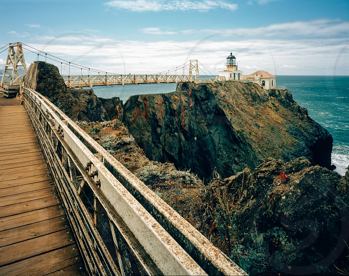 San Francisco Point Bonita Lighthouse ocean bay rocks bridge  photo