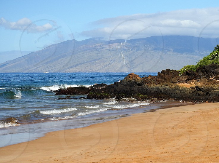 Windfarm on West Maui Mountains           photo