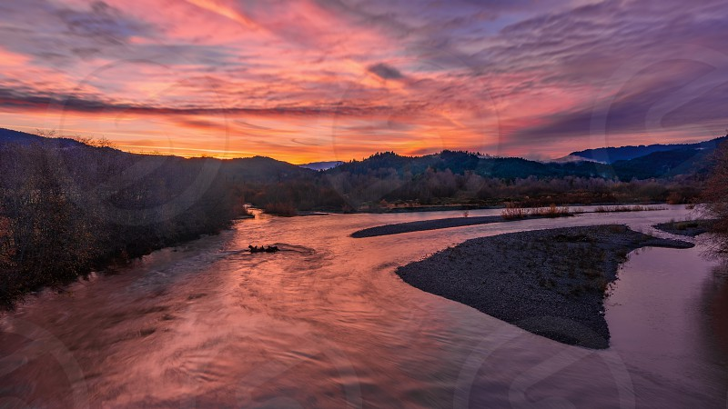 Sunrise image of the Mad River Blue Lake California photo