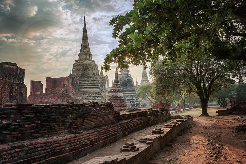 Lord Buddha Broken Statues Ayutthaya photo