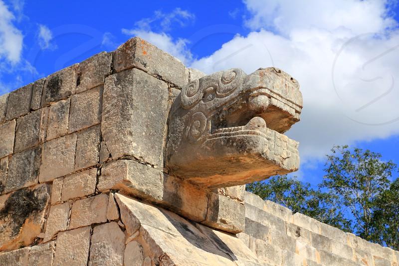 Chichen Itza serpent snake Mayan ruins Mexico Yucatan photo