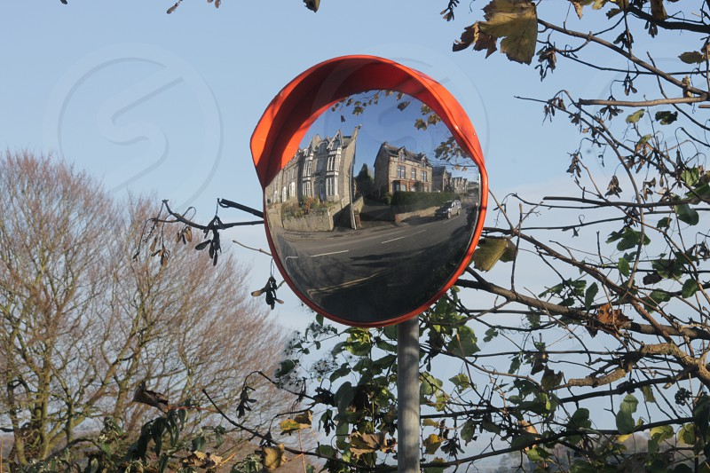 Traffic Mirror  Grange Mirror used on busy road for access photo