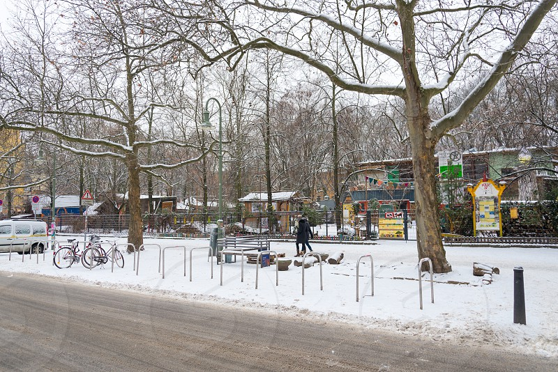 Some nice coffee shop and outdoor restaurant inside Prenzlauer Berg Neighborhood in Berlin Germany photo