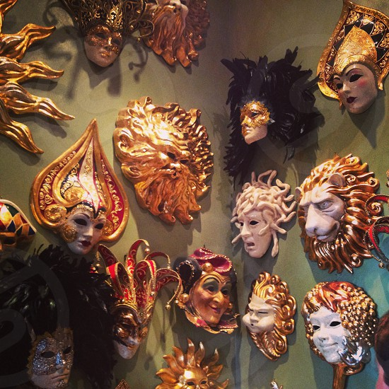 assorted masquerades on gray wall photo