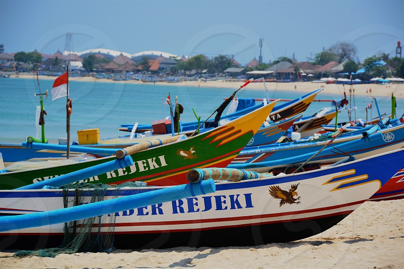Boats lined up - Indonesia photo