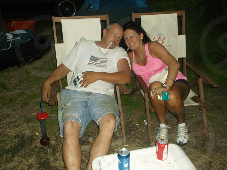 couple loving camping outside happy photo