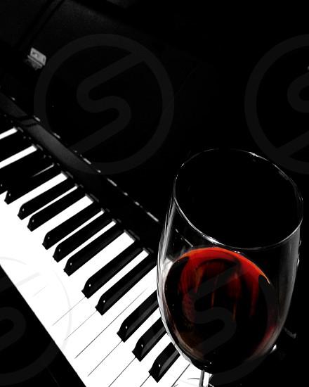 Red Wine Piano Keys Music photo