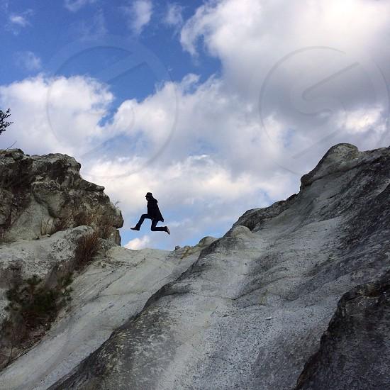 beige rock mountain photo