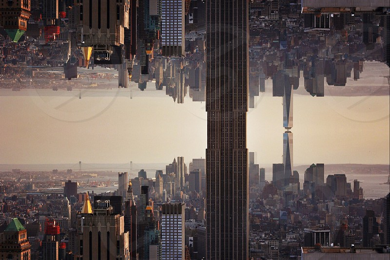 reflection of city skyscrapers photo