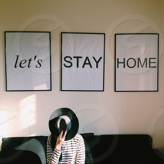 lets stay home 3 panel wall art photo