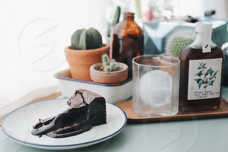 Cafe chocolate cake sweet dessert bakery tasty delicious brownie coffee shop  photo