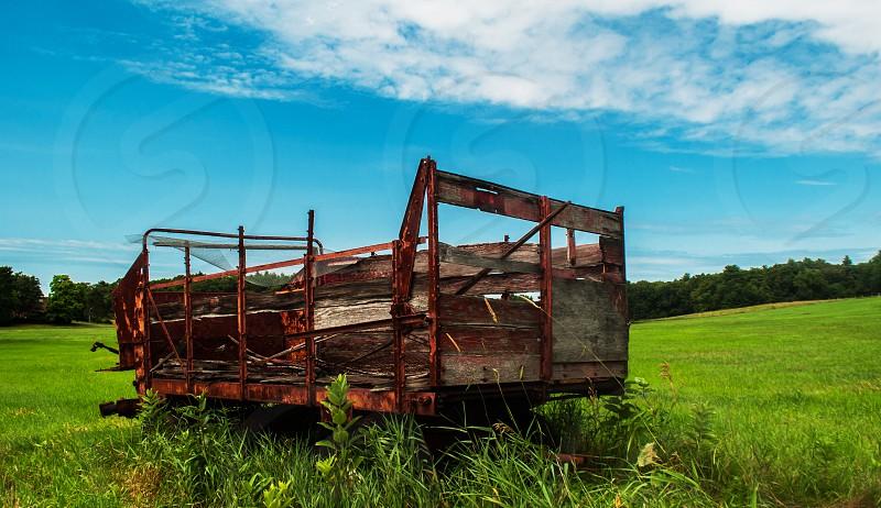 Farm old hay wagon summer landscape photo