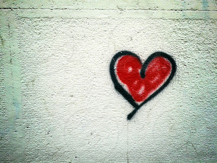 red heart on a wall photo