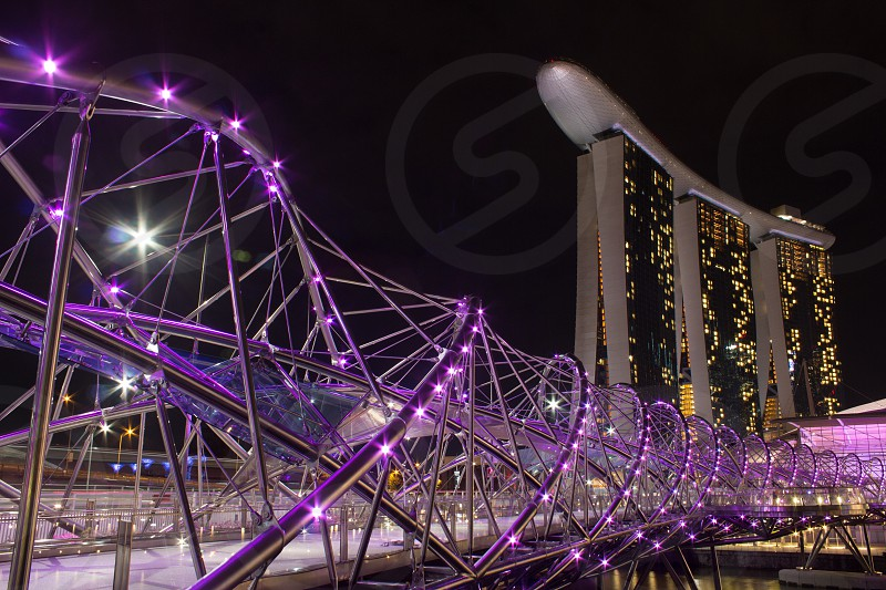 Marina Bay Sands hotel and Helix Bridge in Singapore photo