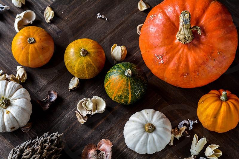 Pumpkins on a  table photo