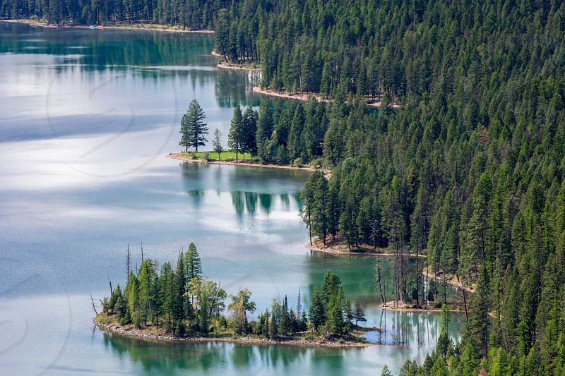 Scenic view of Holland Lake in Montana photo