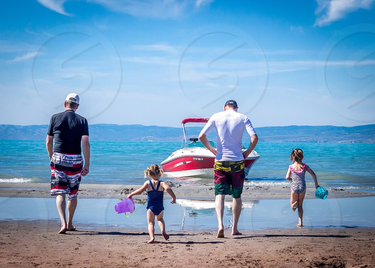 bear lake sunshine family water kids dad grandpa boating sand beach lake shore swim wet  photo