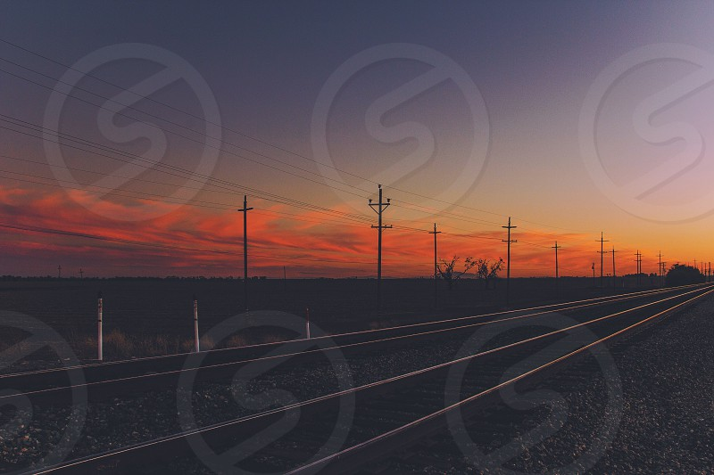 long road and sunset view  photo