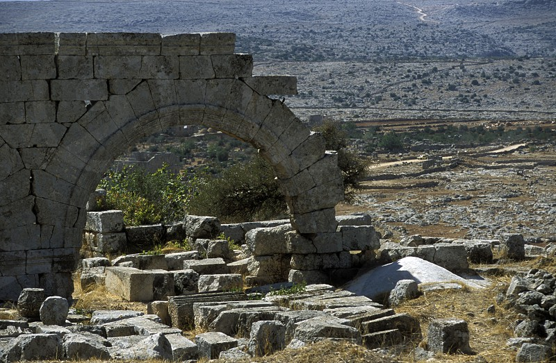the ruins of the Basilica Qalb Lozeh near the city of Aleppo in Syria in the middle east photo