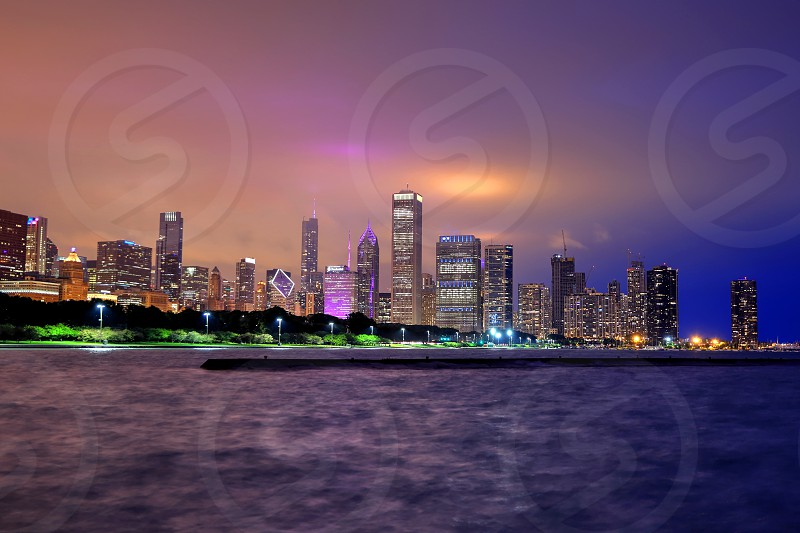 Chicago Illinois Usa June 22 2018 The Chicago Skyline At Night After A Storm Across Lake Michigan By James Byard Photo Stock Snapwire