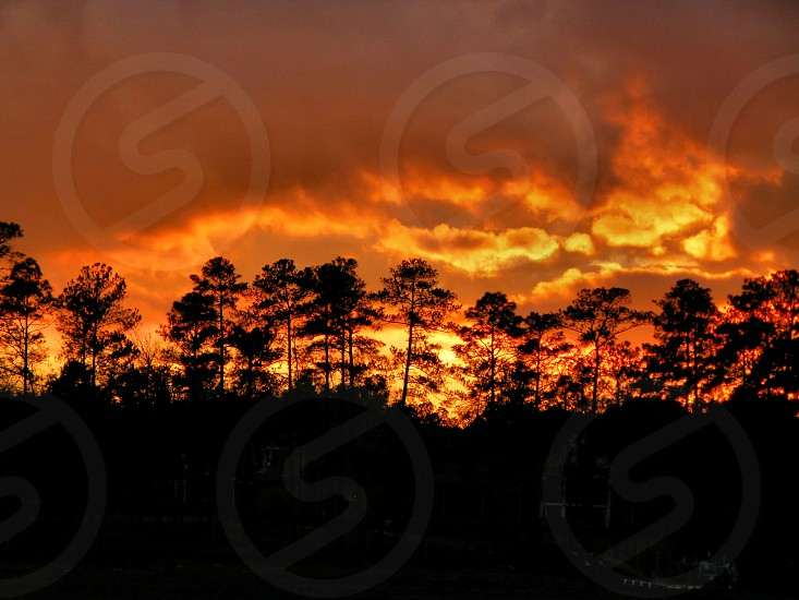 sunset fire sky nature photo