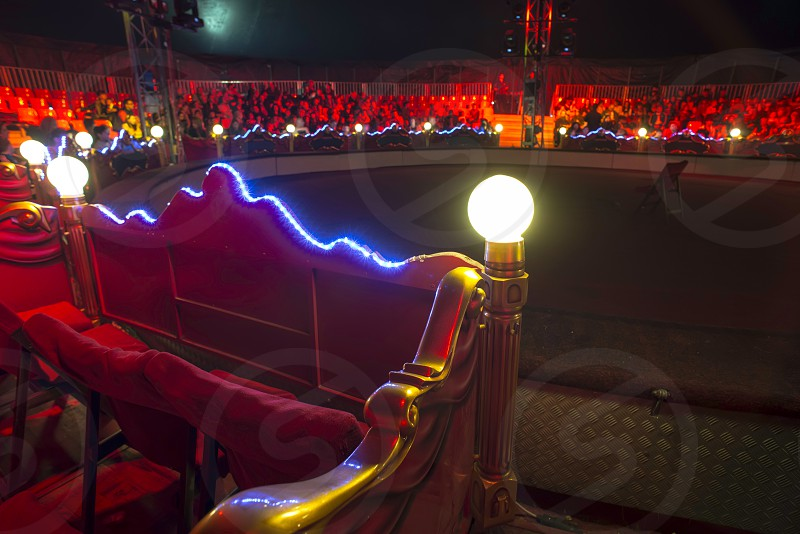 Circus arena interior. Blue and red lights. Inside. Bulgaria photo