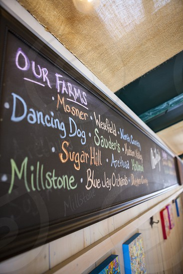black chalkboard showing our farms mosner westfield text photo