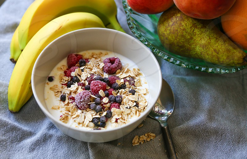 Fruit berries oats bananas healthy eating  photo