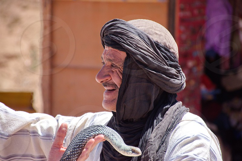 Portrait of an old Berber with the snake in Morocco  photo