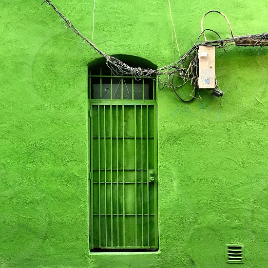 Green wall and door photo