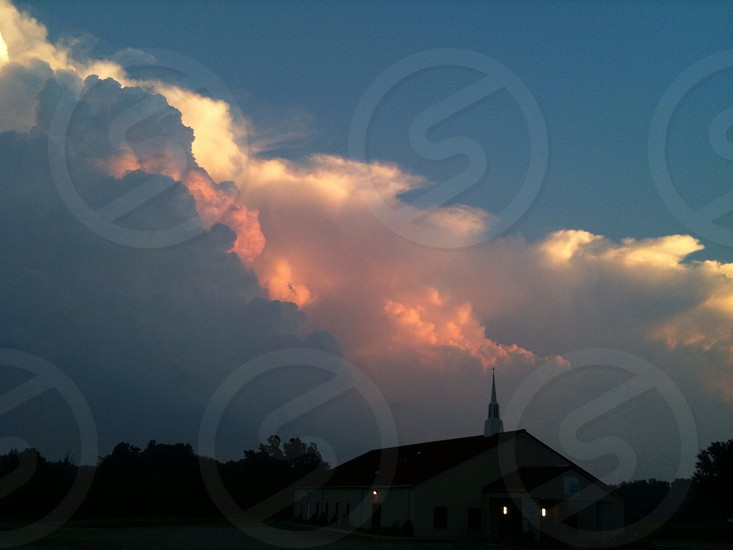 white and orange sky  photo
