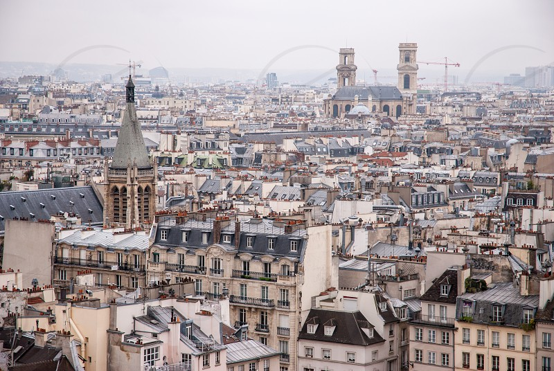 Paris France - aerial city view with old architecture. UNESCO World Heritage Site. photo