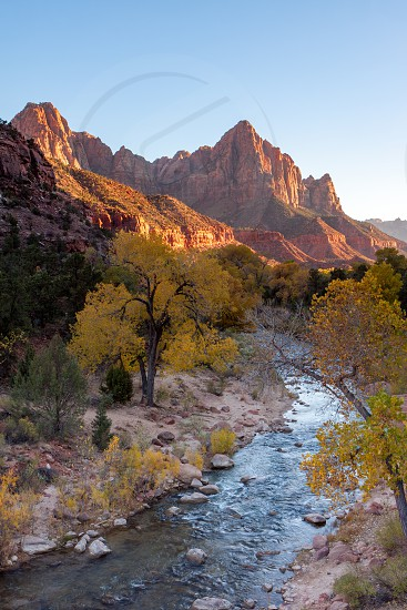 Virgin River Valley and sunlit mountains in Zion National Park photo