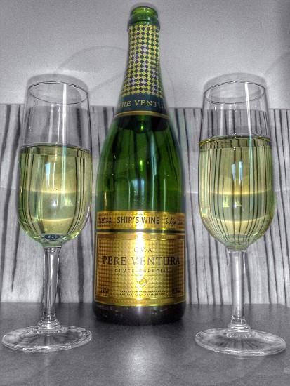 ChampagnebottleglassGold photo