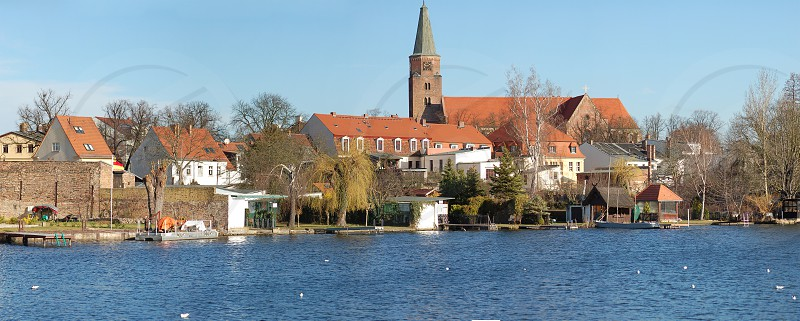 Cityscape of Brandenburg an der Havel with havel river and cathedral. photo