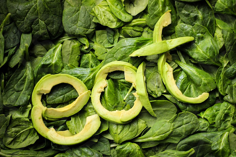 super food vegetables healthy greens green vitamins eat fuel consume spinach avocado leaf leaves fruit portions servings photo